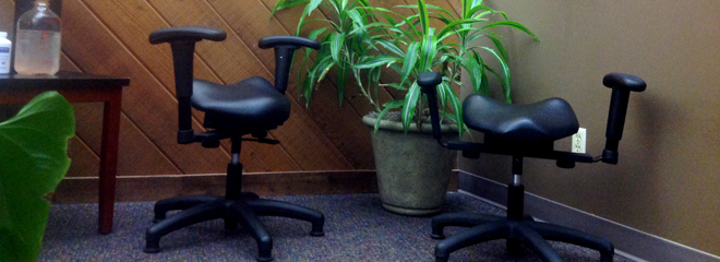 Wobble chair used for spinal rejuvenation therapy in Eau Claire and Chippewa Falls