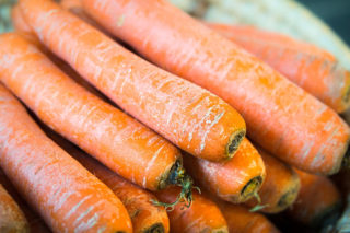 A plate of fresh carrots for healthy recipes